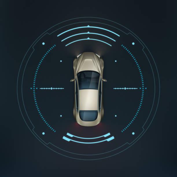 Darstellung von einem Auto, das in einem Kreis mit technischen Datens steht
