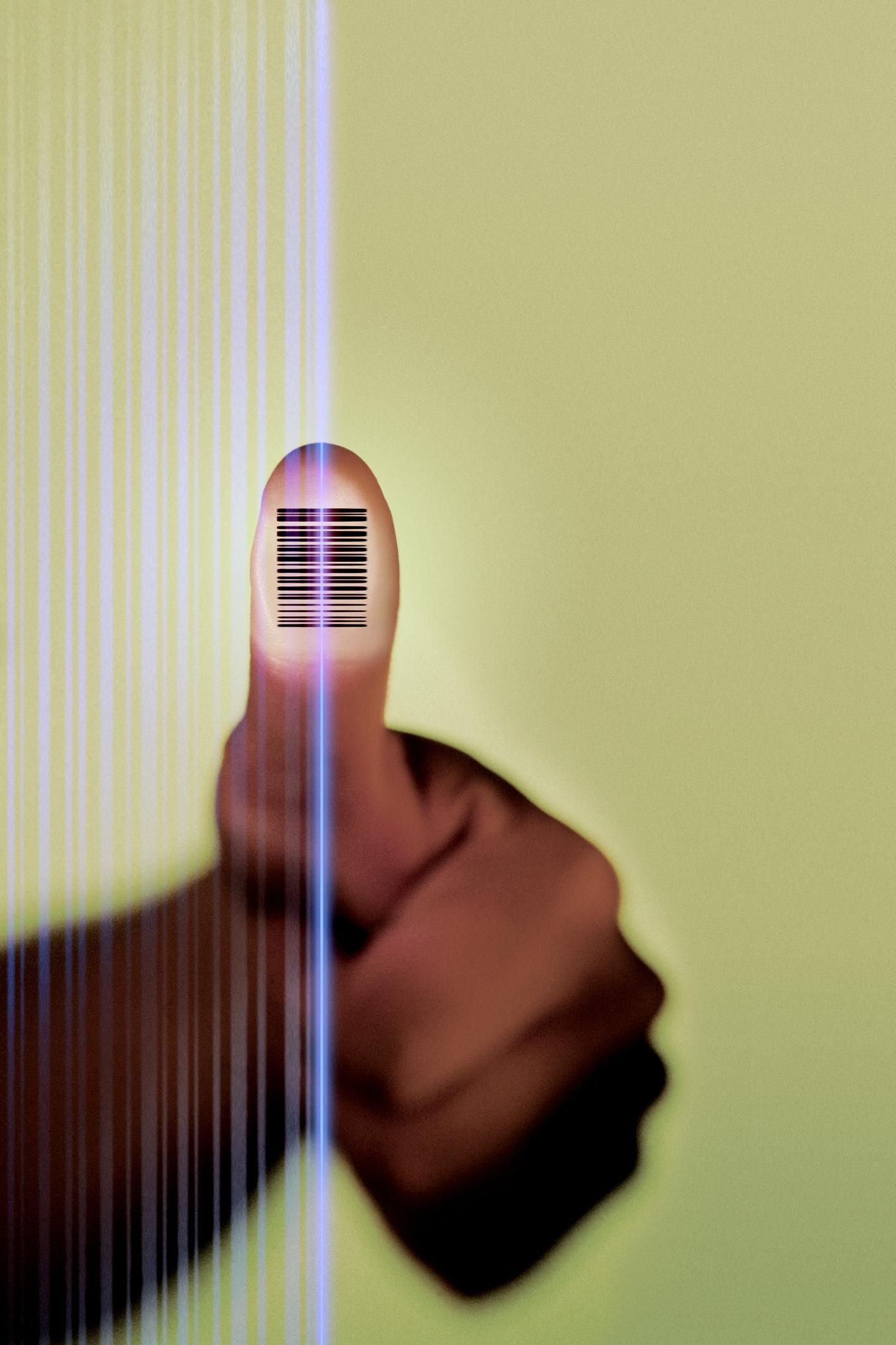 Barcode auf Daumen. Thema: Digitaler Fingerabdruck