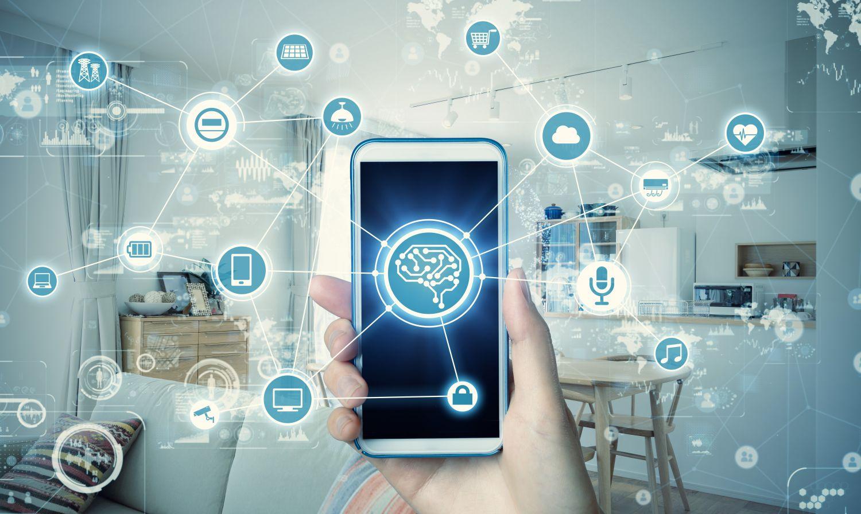 Grafische Vernetzung des Smartphones mit Haushaltsgeräten. Thema: Smart Living